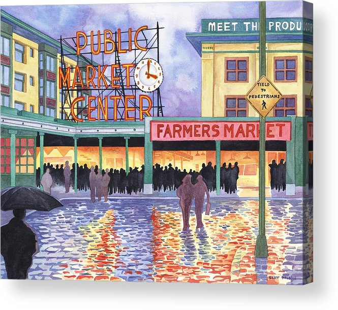 Pike Place Acrylic Print featuring the painting Pike Place Lights by Scott Nelson