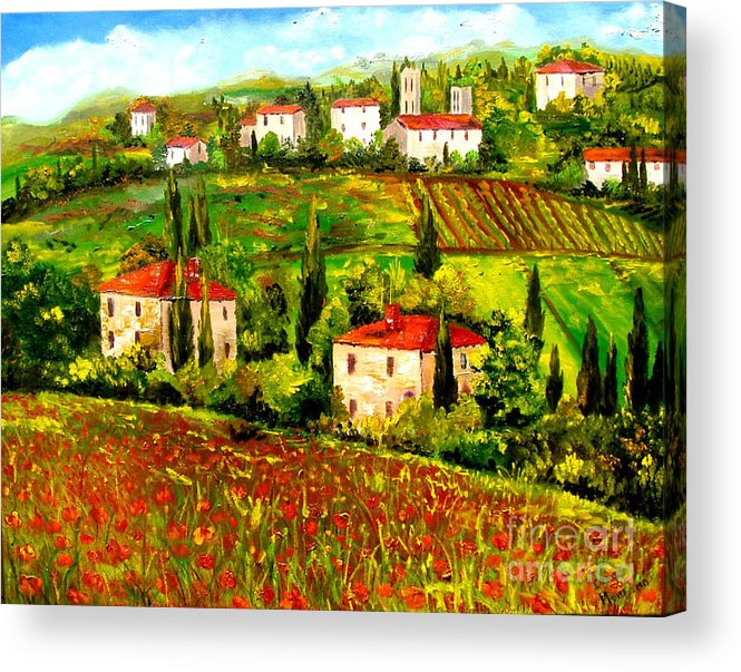 Tuscany Acrylic Print featuring the painting Poppies Field by Inna Montano