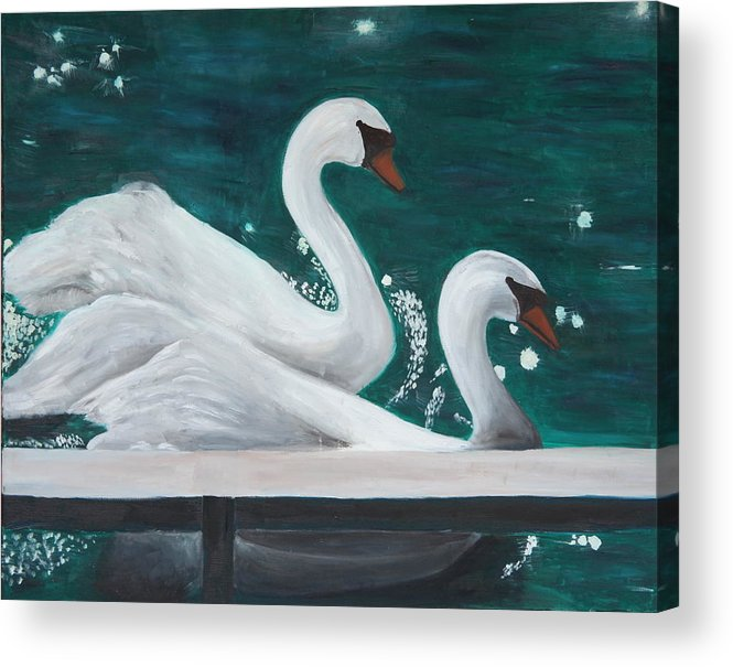 Animals Acrylic Print featuring the painting Swans by Taly Bar