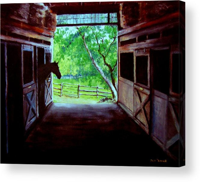 Horse Acrylic Print featuring the painting Water's Edge Farm by Jack Skinner