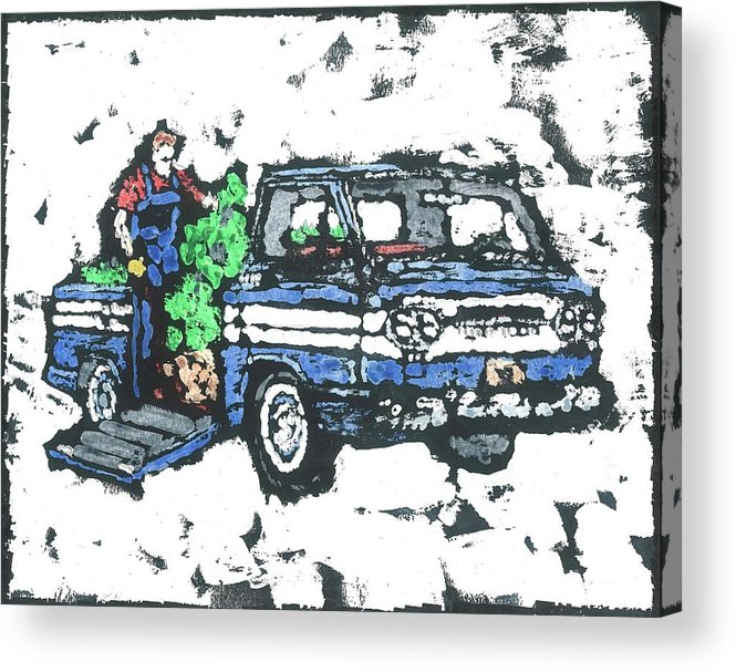 Corvair Acrylic Print featuring the painting 1962 Corvan by Dick Gallagher