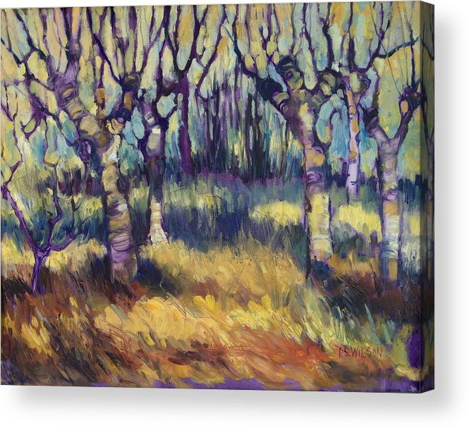 Orchard Acrylic Print featuring the painting Van Gogh's Orchard by Peggy Wilson