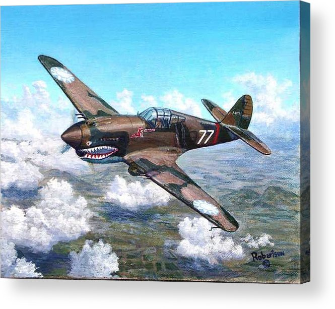 R. T. Smith's Number 77 Over Kunming Acrylic Print featuring the painting Flying Tiger Over China by Scott Robertson