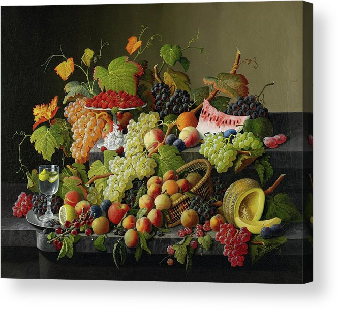 Fresh Acrylic Print featuring the painting Abundant Fruit by Severin Roesen