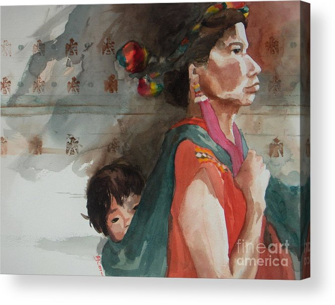A Native Guatemalan Mother And Child Acrylic Print featuring the painting A Mother's Resolve by Elizabeth Carr