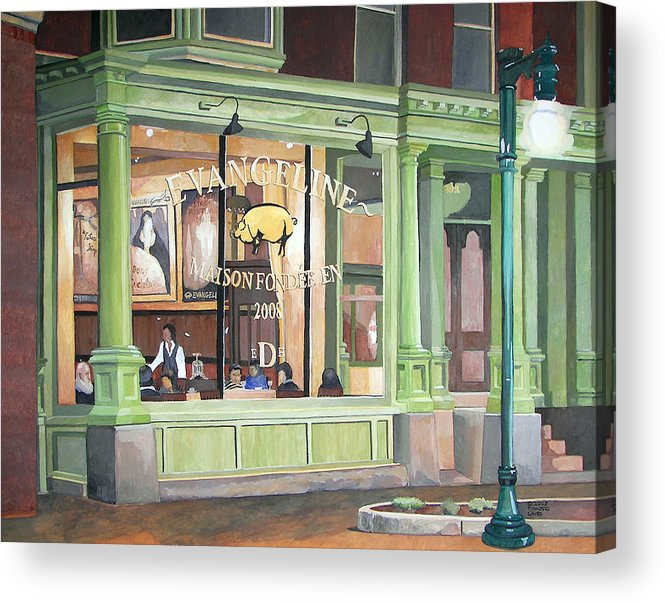 Restaurant Acrylic Print featuring the painting A Night At Evangeline by Dominic White