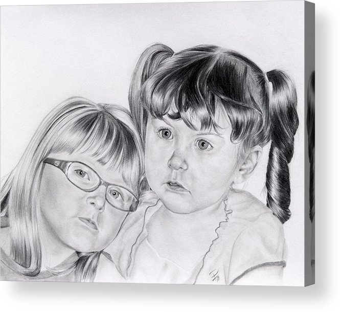 Little Girl Acrylic Print featuring the drawing A Shoulder To Lean On by Patrick Entenmann