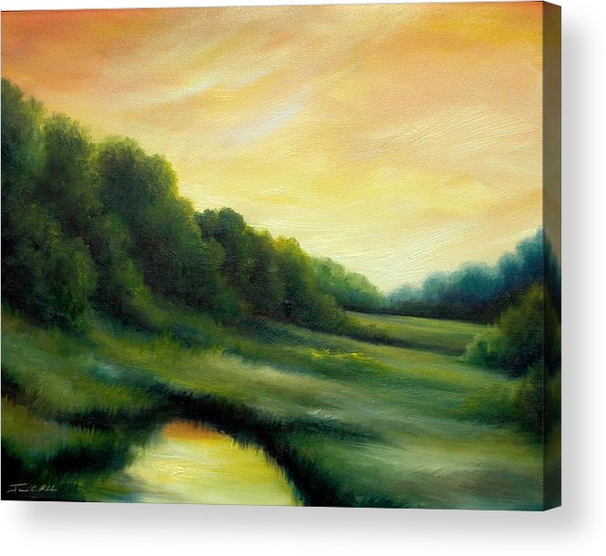 Clouds Acrylic Print featuring the painting A Spring Evening Part Two by James Christopher Hill