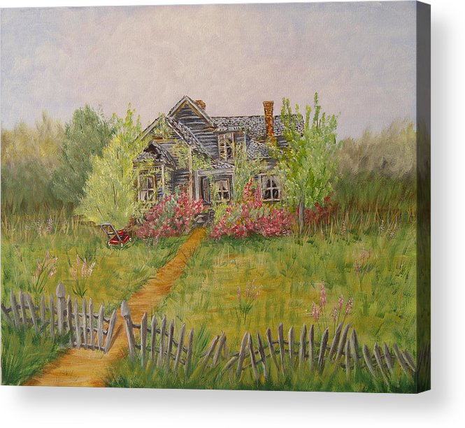 Landscape Acrylic Print featuring the painting Abandoned House by Quwatha Valentine