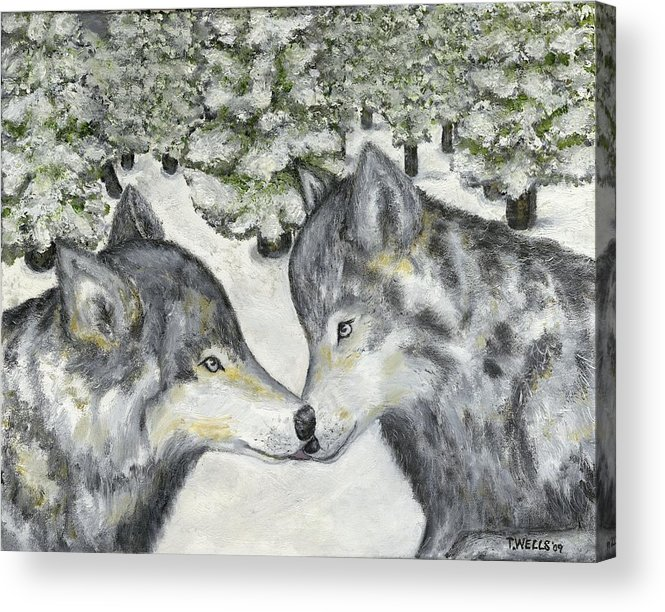 Wolves Acrylic Print featuring the painting Affection In The Wild by Tanna Lee M Wells
