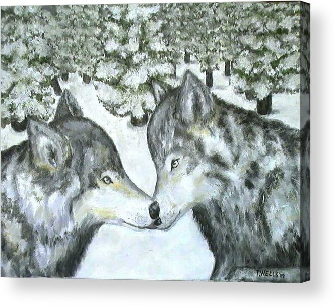 Winter Acrylic Print featuring the painting Affection In The Wild by Tanna Lee Wells