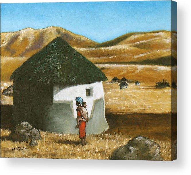 Acrylic Print featuring the painting African Hut by Lorraine Klotz