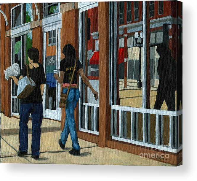 People Acrylic Print featuring the painting Afternoon Reflections - Oil Painting Columbus Ohio by Linda Apple