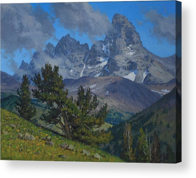 Landscape Acrylic Print featuring the painting Alpine Sentinels by Lanny Grant