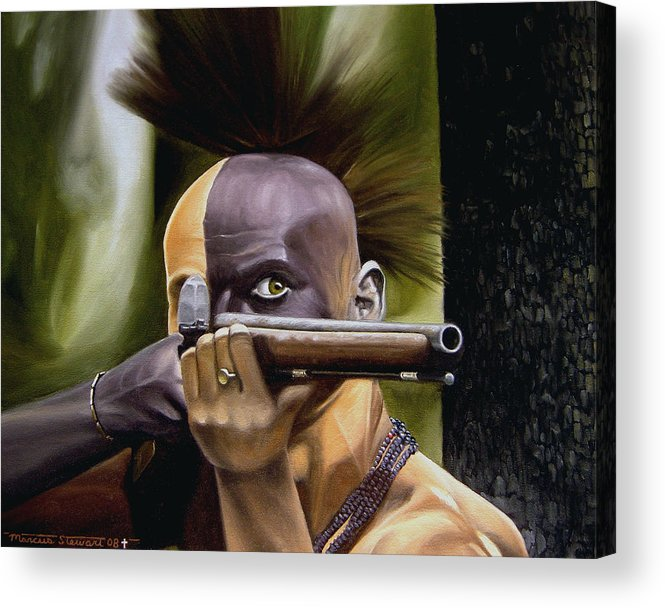 Indian Acrylic Print featuring the painting Ambush by Marc Stewart