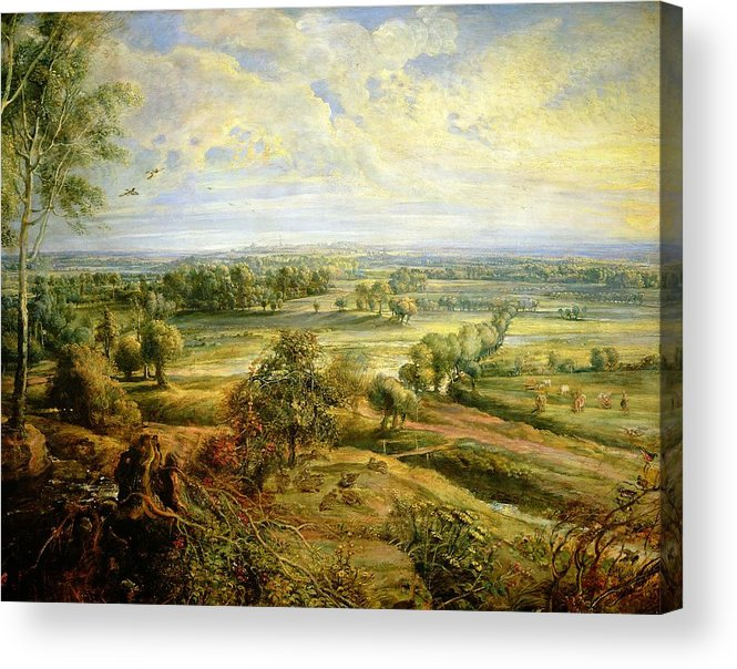 Autumn Acrylic Print featuring the painting An Autumn Landscape With A View Of Het Steen In The Early Morning by Rubens