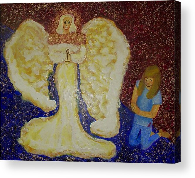 Angel Acrylic Print featuring the painting Angel And Child by Helen Musser