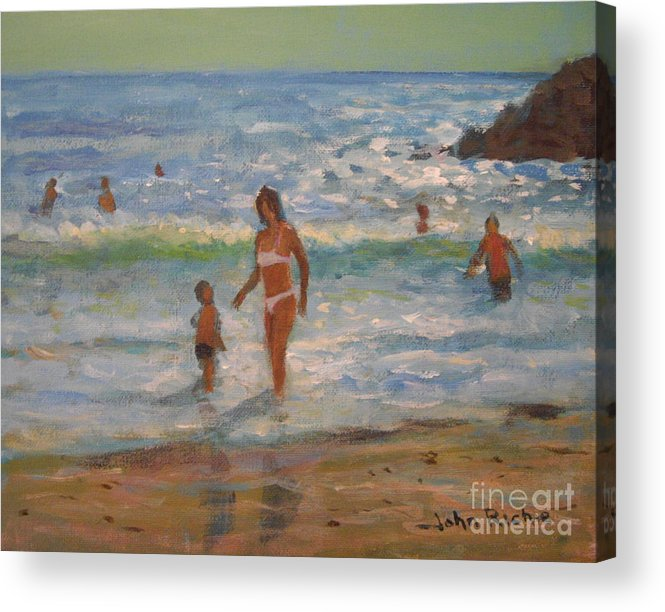 Sea Acrylic Print featuring the painting Another Hot Day by John Richie