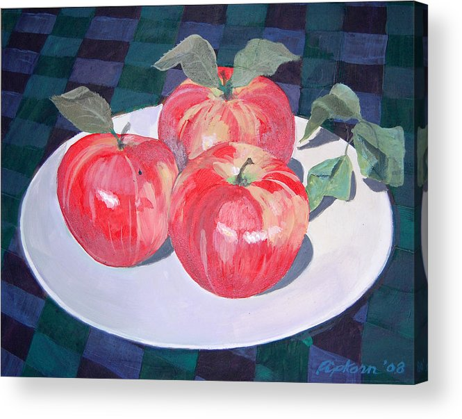 Still Life Apple Acrylic Print featuring the painting Apples by Werner Pipkorn
