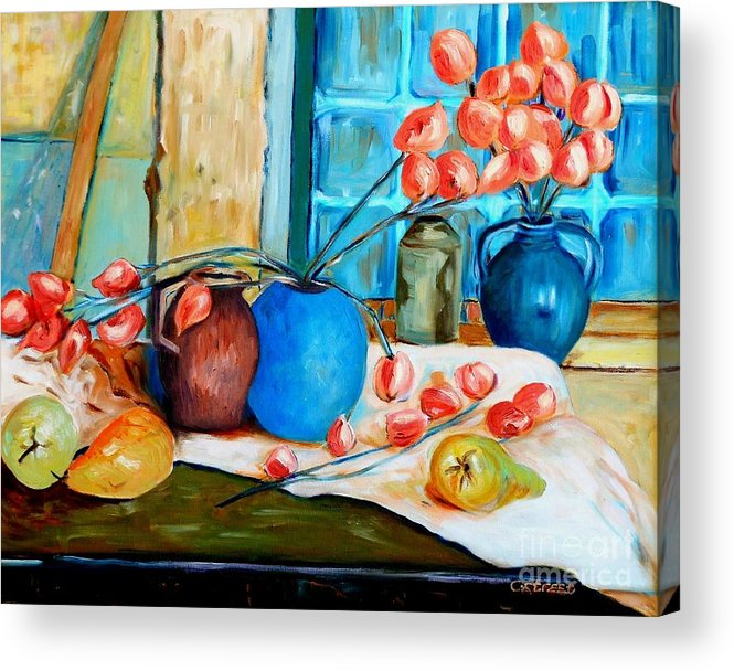 Still Life Acrylic Print featuring the painting Arranging The Flowers by Caroline Street