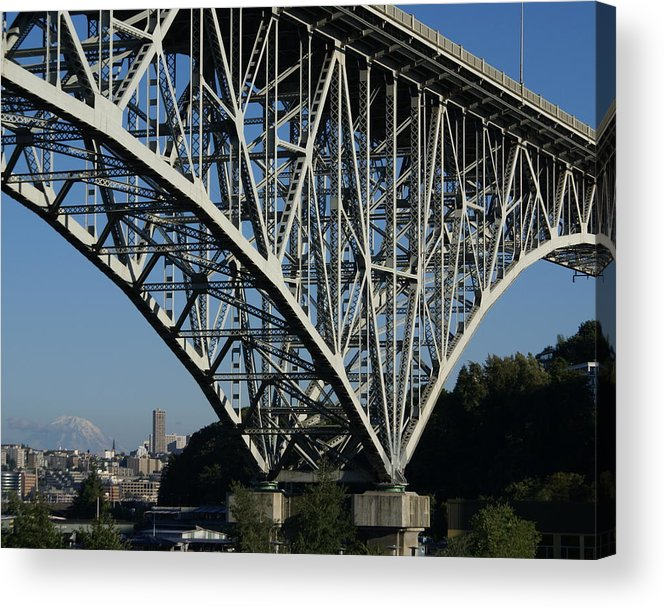 Architecture Acrylic Print featuring the photograph Aurora Bridge - Seattle by Sonja Anderson