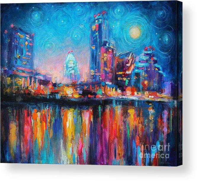 Austin Art Acrylic Print featuring the painting Austin Art Impressionistic Skyline Painting #2 by Svetlana Novikova