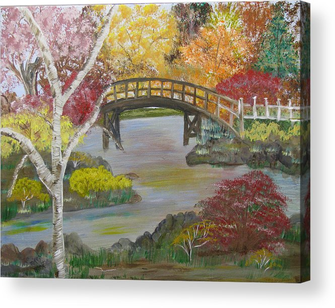 Landscape Acrylic Print featuring the painting Autum Bridge by Mikki Alhart