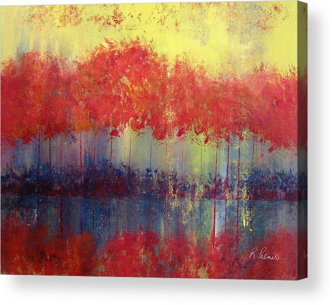 Abstract Acrylic Print featuring the painting Autumn Bleed by Ruth Palmer