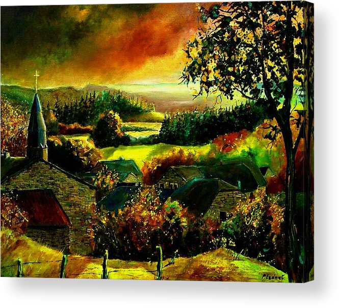 Landscape Acrylic Print featuring the painting Autumn In Our Village Ardennes by Pol Ledent