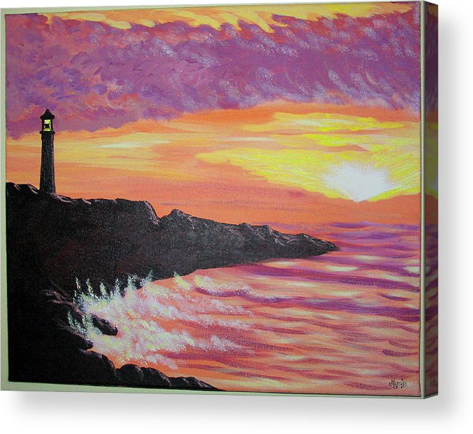 Seascape Acrylic Print featuring the painting Bahia At Sunset by Marco Morales