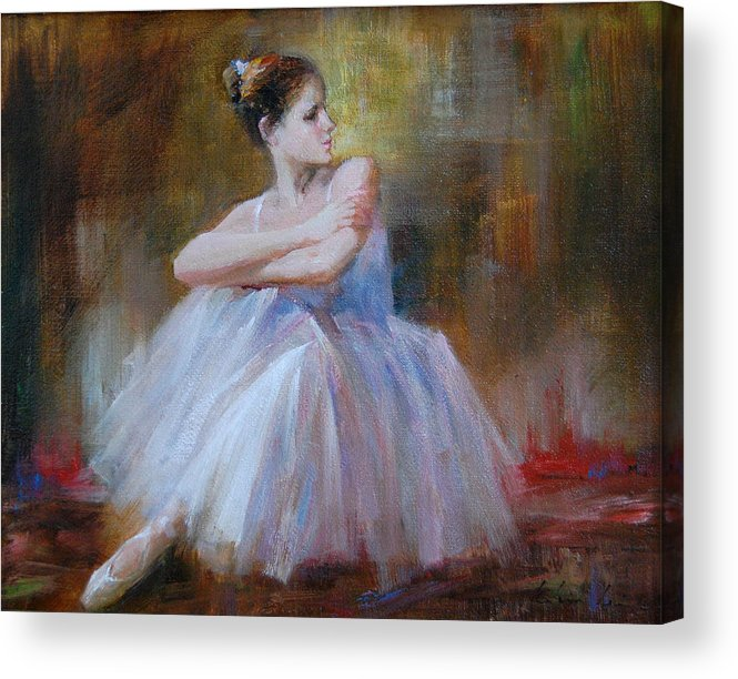 Figuratives Acrylic Print featuring the painting Ballerina E by Kelvin Lei