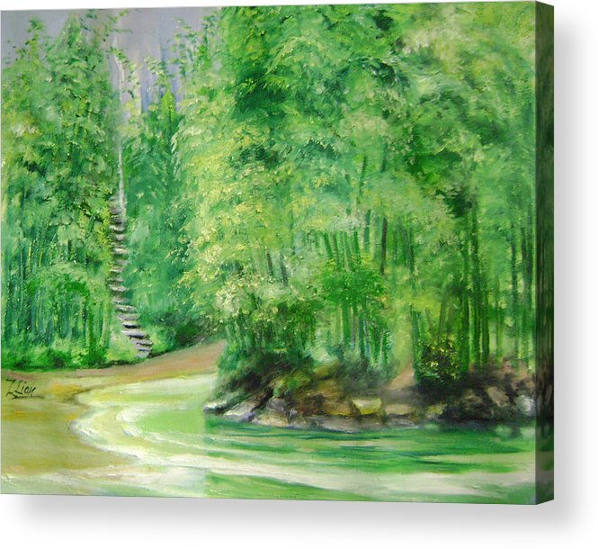 Landscape Acrylic Print featuring the painting Bamboo Forests 1 by Lian Zhen
