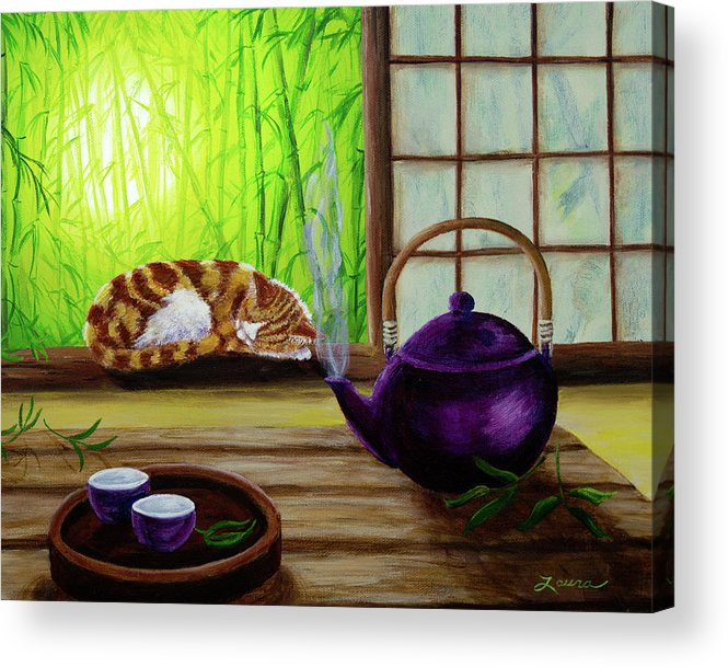 Teapot Acrylic Print featuring the painting Bamboo Morning Tea by Laura Iverson