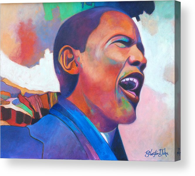 President Acrylic Print featuring the painting Barack Obama by Glenford John