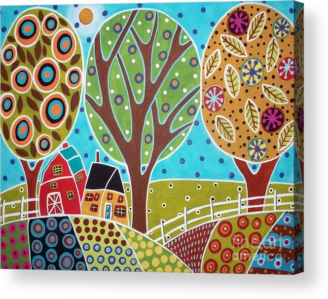 Landscape Acrylic Print featuring the painting Barn Trees And Garden by Karla Gerard