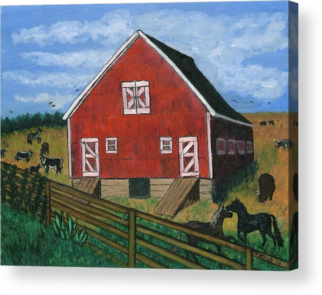 Big Red Barn Surrounded By Horses Acrylic Print featuring the painting Barnyard On The Prairie by Tanna Lee M Wells