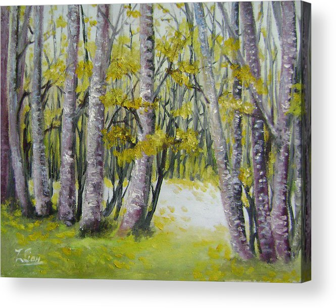 Landscape Acrylic Print featuring the painting Barren Trees by Lian Zhen