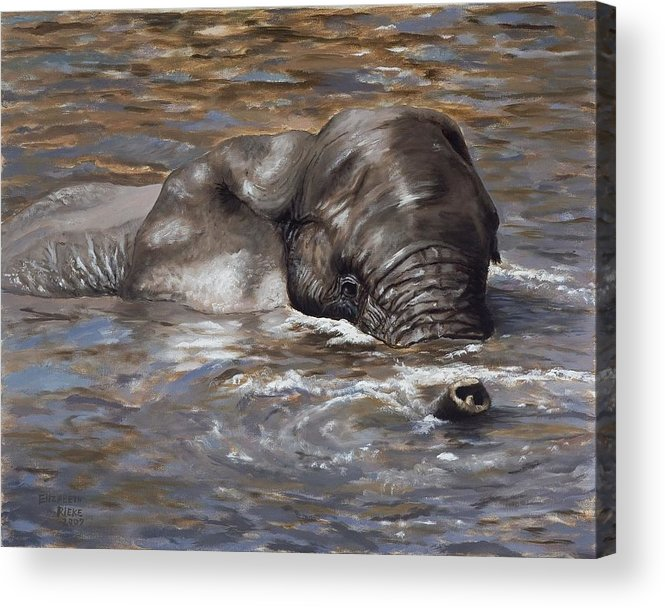 African Acrylic Print featuring the painting Bath Time - African Elephant In The Water by Elizabeth Rieke Hefley