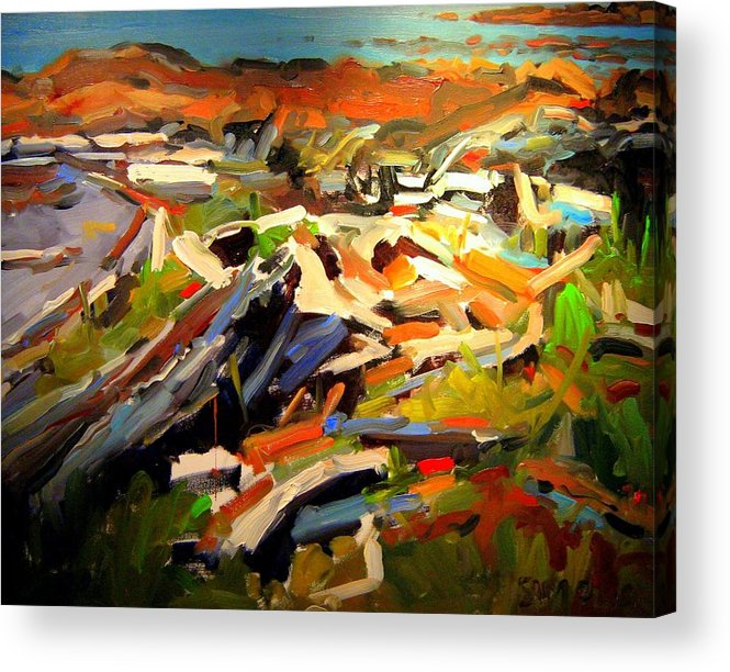 Beach Paintings Acrylic Print featuring the painting Beach by Brian Simons