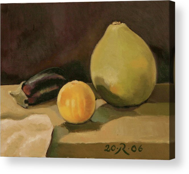 Still-life Cucurbit Aubergine Grapefruit Acrylic Print featuring the painting Big Grapefruit by Raimonda Jatkeviciute-Kasparaviciene