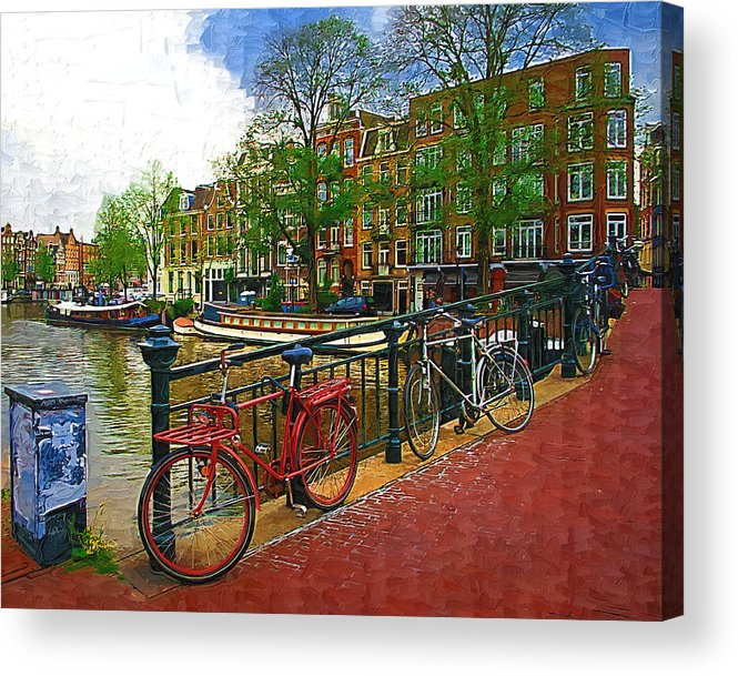 Bikes Acrylic Print featuring the photograph Bikes On The Bridge by Tom Reynen