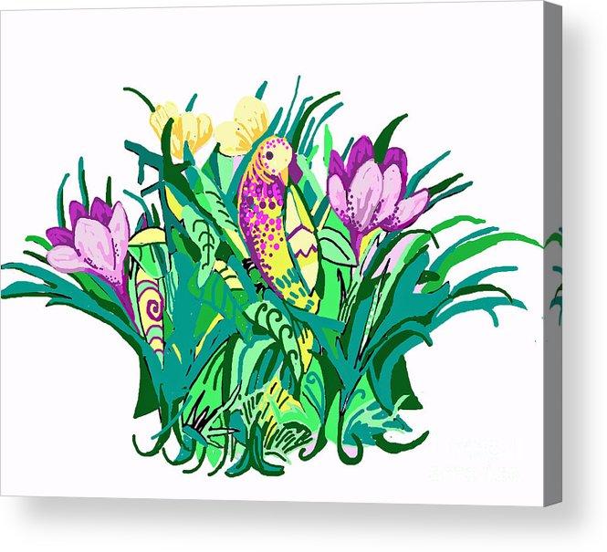 Yellow. Violet Acrylic Print featuring the digital art Bird In A Bush by Carolyn Alston Thomas