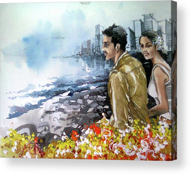 Life Acrylic Print featuring the painting Blooming Love by Debapriya Ghosh