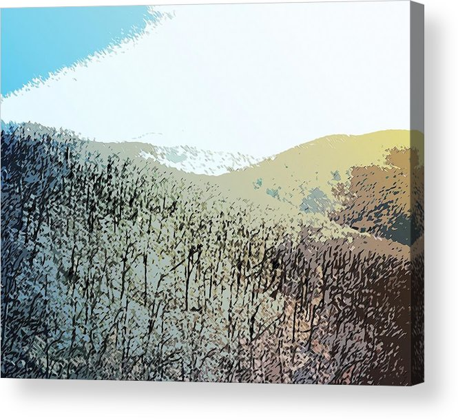 Blue Mountain Scrub Ridge Shenandoah Valley Virginia Usa Minimalist Landscape Acrylic Print featuring the painting Blue Mountain Scrub by Susan Epps Oliver