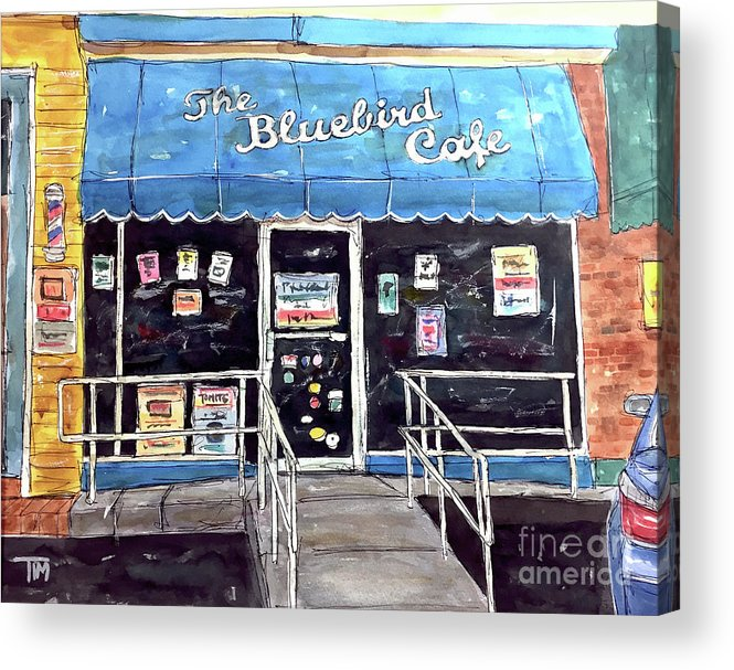Bluebird Acrylic Print featuring the painting Blue Plate Special by Tim Ross