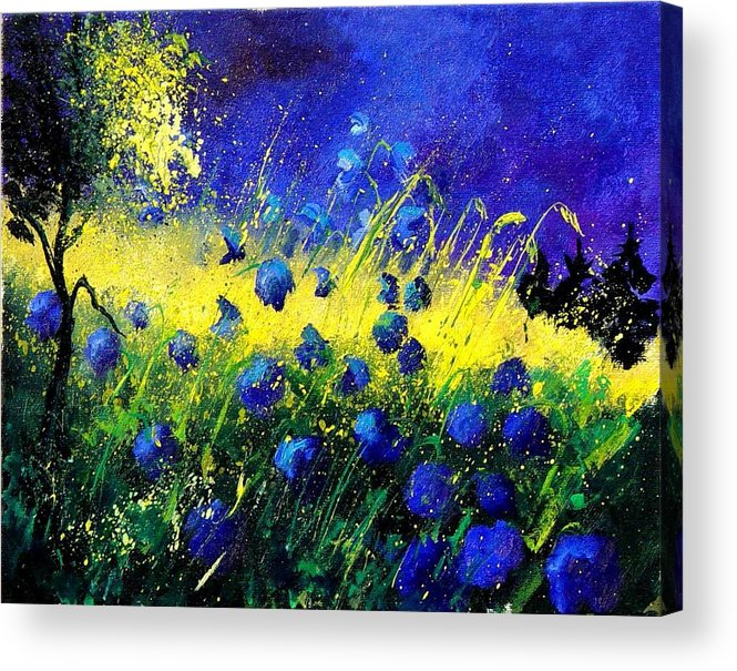Flowers Acrylic Print featuring the painting Blue Poppies by Pol Ledent