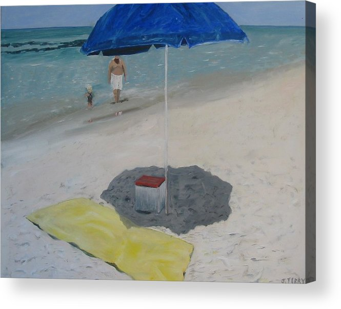 Seascape Acrylic Print featuring the painting Blue Umbrella by John Terry