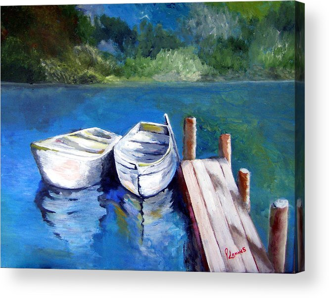 Landscape Acrylic Print featuring the painting Boats Docked by Julie Lamons