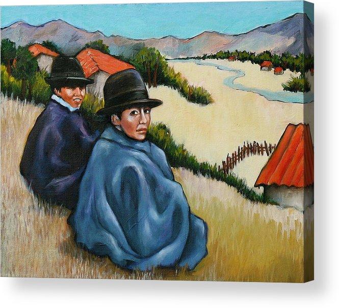 Bolivian Boys Acrylic Print featuring the painting Bolivia Boys by Lorraine Klotz