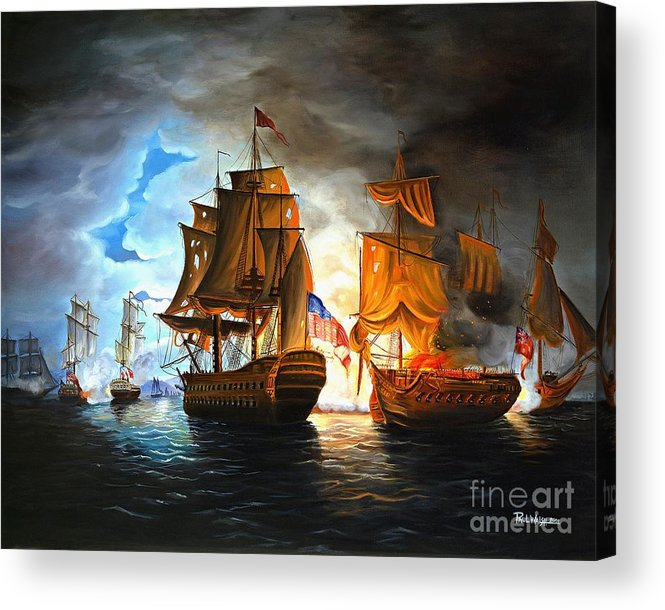 Naval Battle Acrylic Print featuring the painting Bonhomme Richard Engaging The Serapis In Battle by Paul Walsh